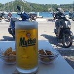 Nothing better than an ice cold Mythos a few light snacks and watching the world go by with the