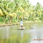 First time on bamboo raft...!