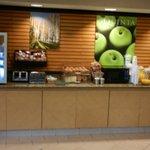 Pastries, fruit and yogurt