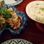 Delicious Ginger chicken and coconut rice