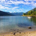 Easy access beach across the street from the hotel - beautiful Kootenay Lake