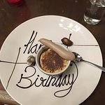 Espresso creme brulee with Birthday message