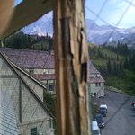 This photo shows the condition of the window frame in the hallway near our room.