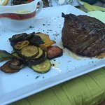 Outside seating; steak & grilled veggies