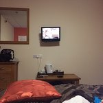 View of TV from the bed