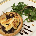 starter - onion and goats cheese tart.