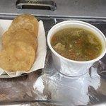 chiken soup, arepas