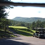 View from corner of the restaurant of the golf course and Brockway Mountain