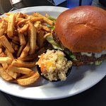 Chipotle provolone burger with fries and quinoa salad