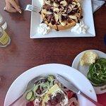 Waffle and Greek Salad