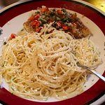 Chicken piccata with browned buttered angel hair pasta aprinkled with mizithra cheese