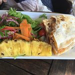 Chicken cheddar quesadilla with salad and pineapple!!