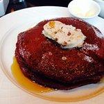 red velvet pancakes for breakfast.