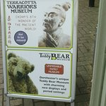 Sign outside (photos not allowed in Terracotta Museum but permitted in Teddy Bear Museum)