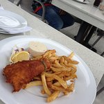 One piece fish and chips dinner at Bayshore Restaurant and Patio, Nanaimo, BC