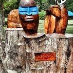 Blue mask totem art