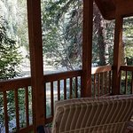 Covered porch/deck of our cabin.