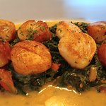 Special: Bay scallops over spinach and risotto in a white wine sauce
