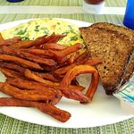 Greek Omelette with sweet potato fries and multi grain toast