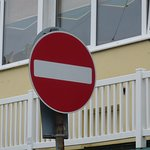 The No entry sign outside the hotel on the I>O>M.