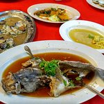 Steamed seabass, shellfish and the remants of a very ordinary meal