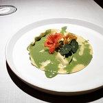 Raviolio di zucchina, salsa alle erbe e nasturzio