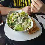 My seafood chowder and my son's ceasar salad from August 31, 2016.