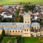 Tewkesbury Abbey seen from the air