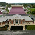 An aerial view of the Chuck Mathena Center