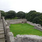 Battlement walkway and outer courtyard at Craigmillar Castle