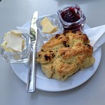 Scone with jam and cream.