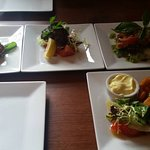 Selection of Tapas, Grilled hallumi, calamari, bruschetta