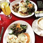 One bacon and one smoked salmon Benedict.