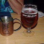 Blue Mule and New Belgium Fat Tire beer