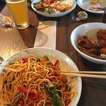 Korean Spicy Shrimp Noodle bowl, Thai Dynamite Bowl w/shrimp and brown rice along with wings