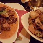 Lamb meshwe and spicy potatoes