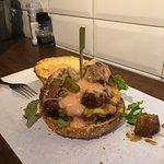 Burger medium rare meat
