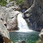 Roaring River Falls drops into a pool that attracts bathers on a warm day.