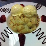 White Chocolate Bread Pudding in a funky dish