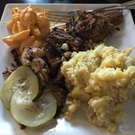 Pulled pork, Mac &cheese and mashed potatoes. All amazing