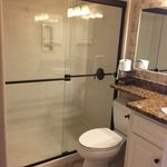 Large shower, granite counters