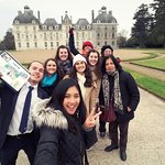 Our group in front of the chateau that inspired Tin Tin