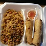 Chicken and pork egg rolls. Chicken fried rice.