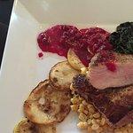 Pork chops with beet, squash, spinach & corn