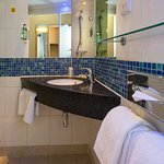 Shower room with large bath towels and sea kelp toiletries