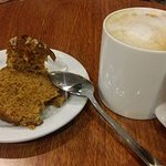 carrot cake with walnut and my cup of cappuccino