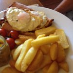 Ham egg and chips. Generous portion!