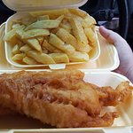 The large cod and chips was large, but sadly overcooked