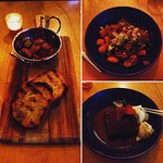 Selection from the new menu: Chorizo olives & sourdough bread starter, lamb gnocchi and sticky d