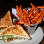 grilled chicken sandwich and sweet potato fries
